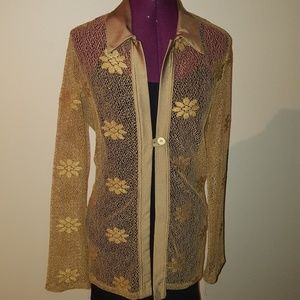 Jackets & Blazers - Golden floral lace top cover